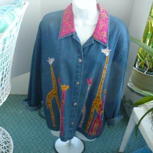 ❤️ TANTRUMS Jean Jacket Embossed 6 Giraffes XL